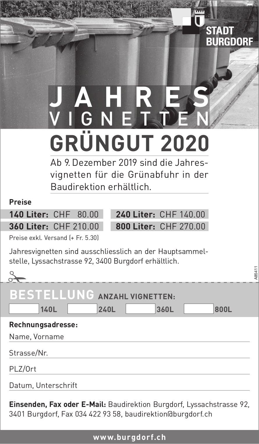 JAHRESVIGNETTEN GRÜNGUT 2020, Stadt Burgdorf