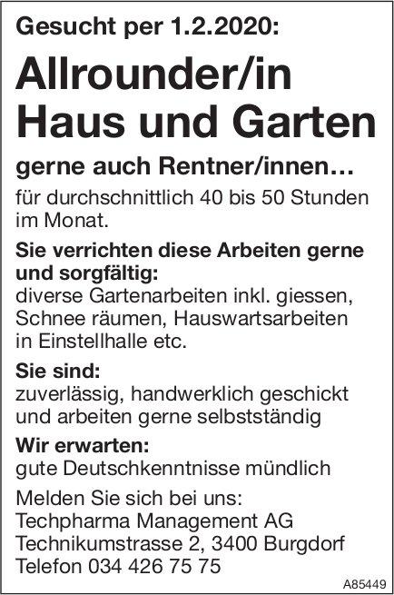 Allrounder/in Haus und Garten, Techpharma Management AG, Burgdorf, gesucht