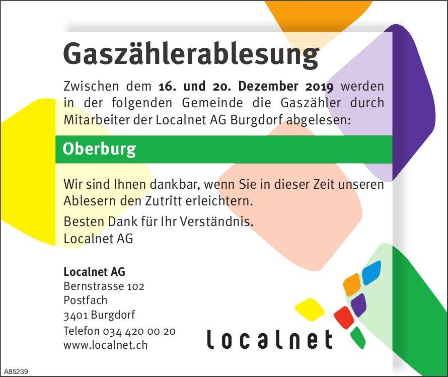 Localnet AG Burgdorf - Gaszählerablesung, 16. - 20. Dezember, Oberburg