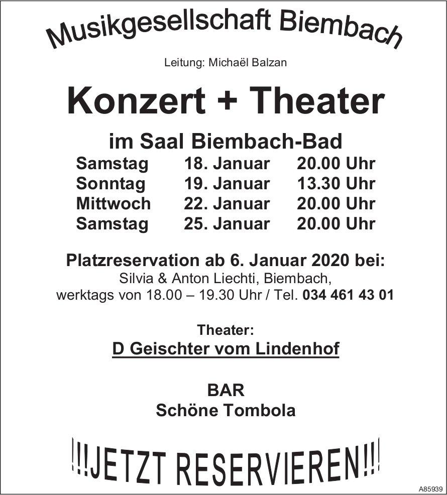 Konzert + Theater, MG Biembach, 18./19./22. + 25. Januar, im Saal Biembach-Bad