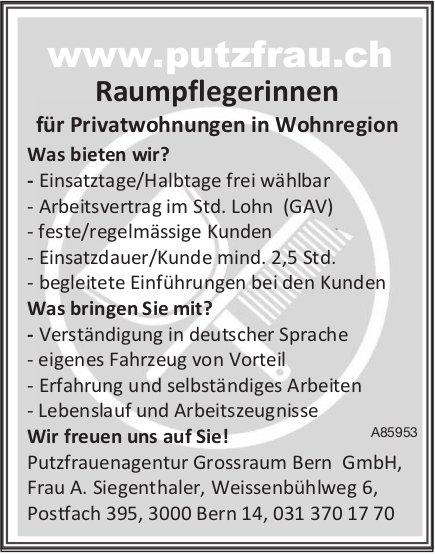 Raumpflegerinnen für Privatwohnungen in Wohnregion, Bern, gesucht