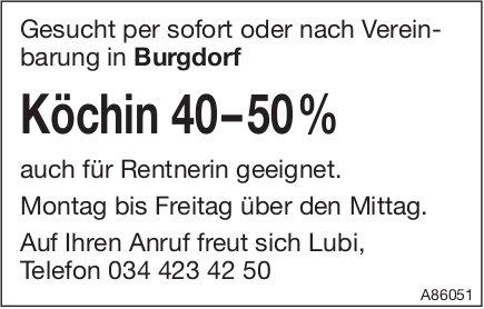Köchin 40–50%, Burgdorf, gesucht