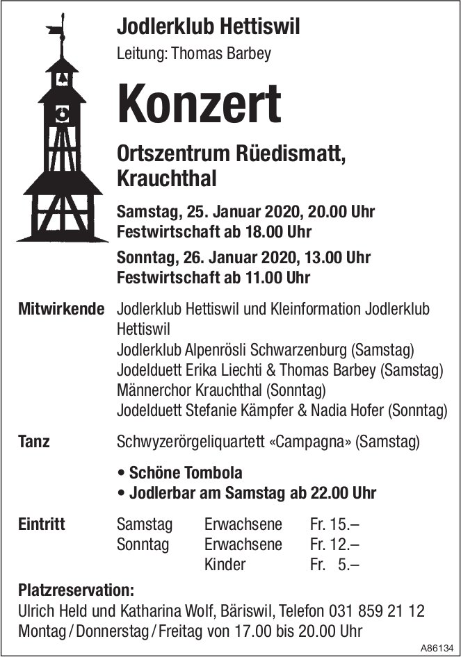 Konzert, 25. + 26. Januar, Jodlerklub Hettiswil, Krauchthal