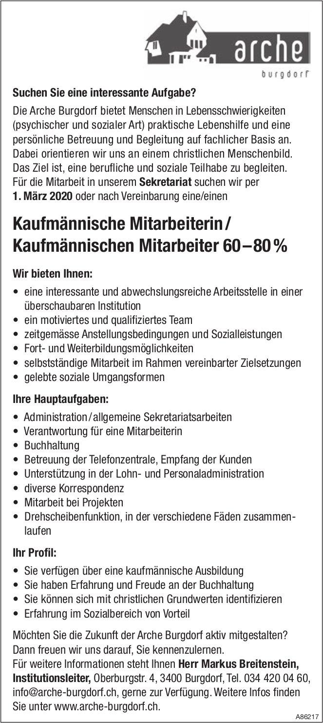 Kaufmännische Mitarbeiterin/ Kaufmännischer Mitarbeiter 60–80%, Arche Burgdorf, Gesucht