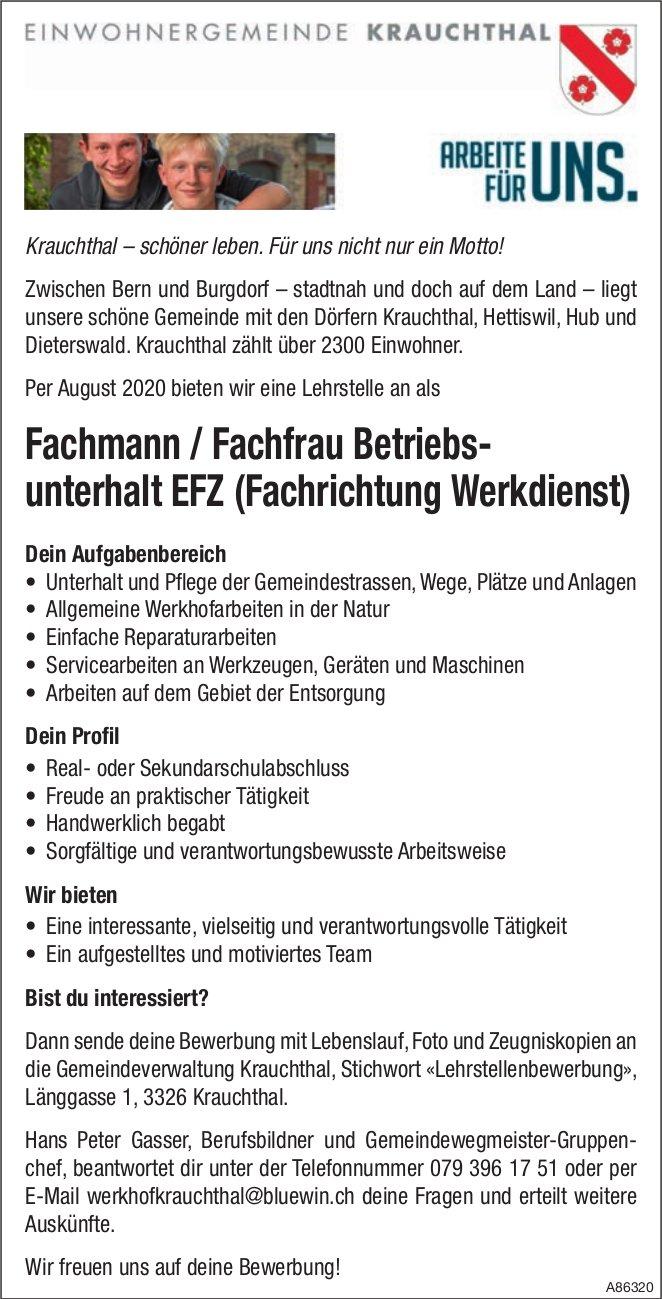 Lehrstelle als Fachmann / Fachfrau Betriebsunterhalt EFZ, Krauchthal, Zu vergeben