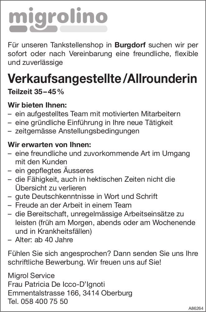 Verkaufsangestellte /Allrounderin, Migrol Service,  Oberburg, Gesucht