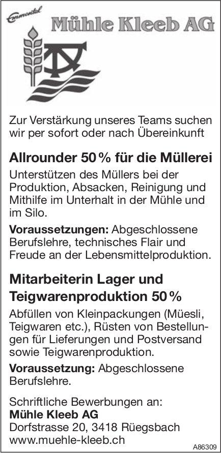Allrounder 50% für die Müllerei, Mühle Kleeb AG, Rüegsbach, Gesucht
