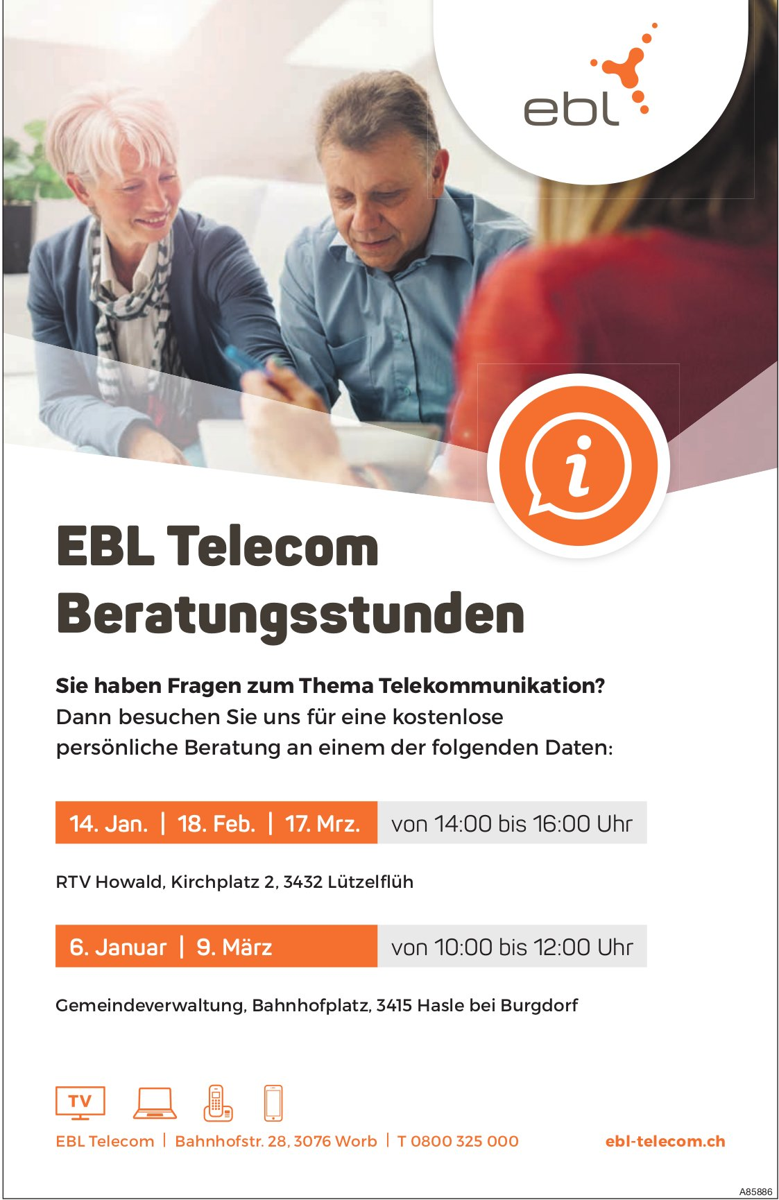 EBL Telecom Beratungsstunden, 18. Februar & 9. + 17. März, Lützelflüh & Hasle bei Burgdorf