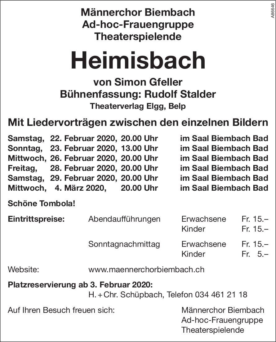Theater Heimisbach, 22. Februar - 4. März, Saal Biembach Bad