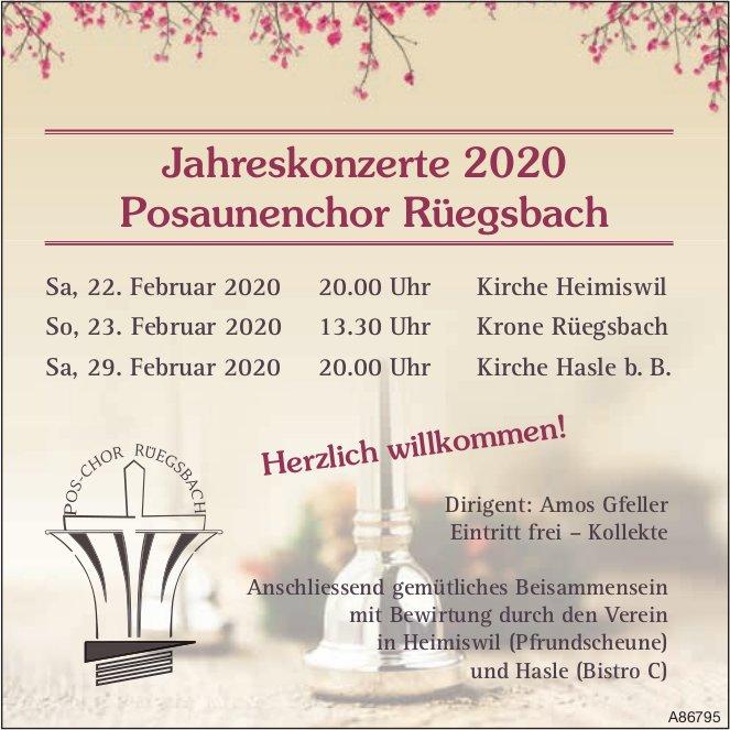 Jahreskonzerte 2020, 22. /23. + 29. Februar, Posaunenchor Rüegsbach