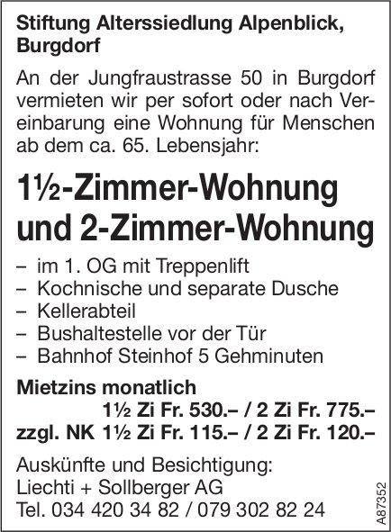 1.5-Zimmer-Wohnung und 2-Zimmer-Wohnung, Burgdorf, zu vermieten