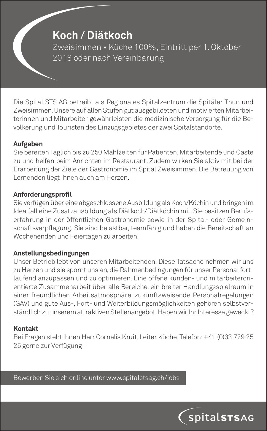 Koch / Diätkoch in Zweisimmen gesucht, Spital STS AG