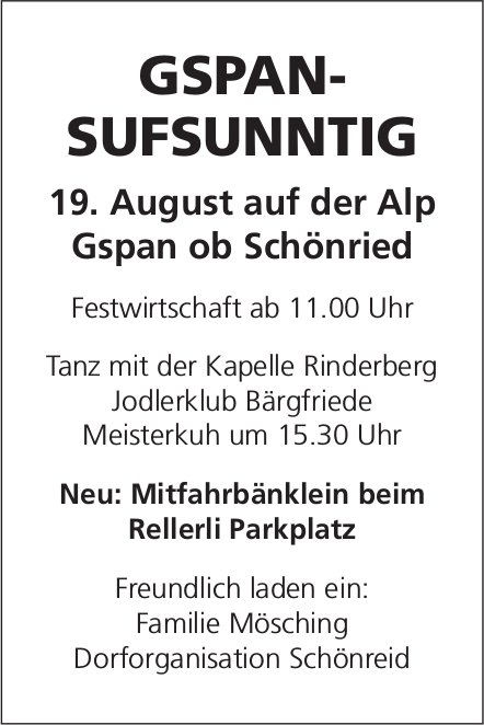 Gspan-Sufsunntig am 19. August, Alp Gspan ob Schönried