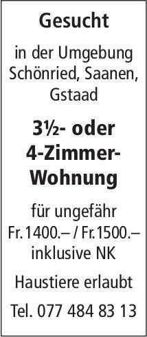 Zu mieten gesucht: 3½- oder 4-Zimmer-Wohnung, Umgebung Schönried / Saanen / Gstaad