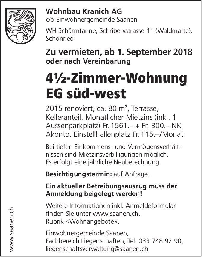 4½-Zimmer-Wohnung EG süd-west in Schönried zu vermieten