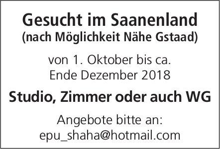 Zu mieten gesucht: Studio, Zimmer oder auch WG, Nähe Gstaad
