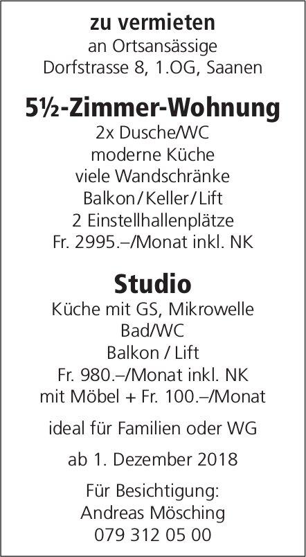 5½-Zimmer-Wohnung / Studio, Saanen, zu vermieten