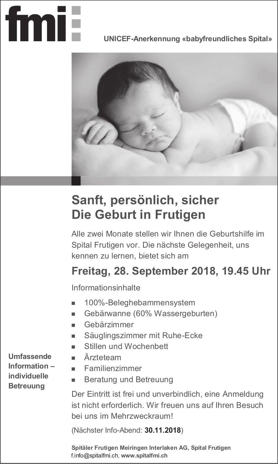 Die Geburt in Frutigen, Infoabend, 28. September