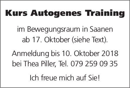 Kurs Autogenes Training, Bewegungsraum Saanen, Anmeldung bis 10. Oktober