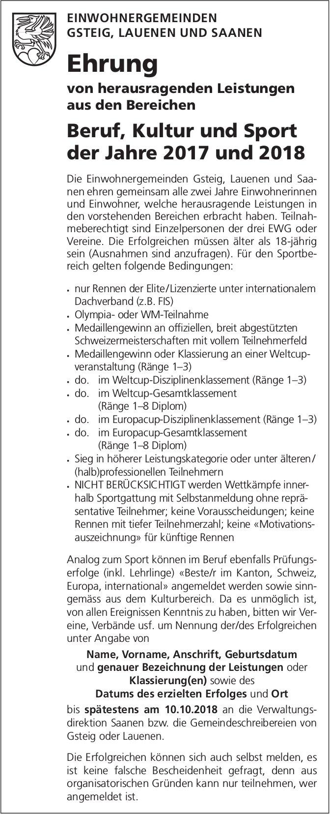 """Ehrung """"Beruf, Kultur und Sport"""", Gsteig / Lauenen und Saanen"""