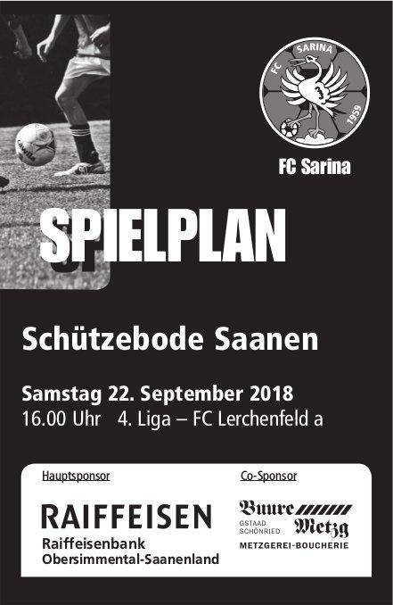 Spielplan FC Sarina, 22. September, Schützebode Saanen