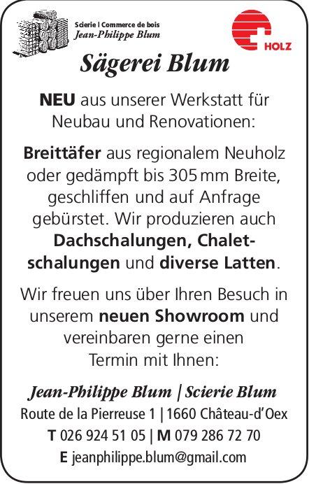 Neu: Breittäfer etc., Sägerei Blum