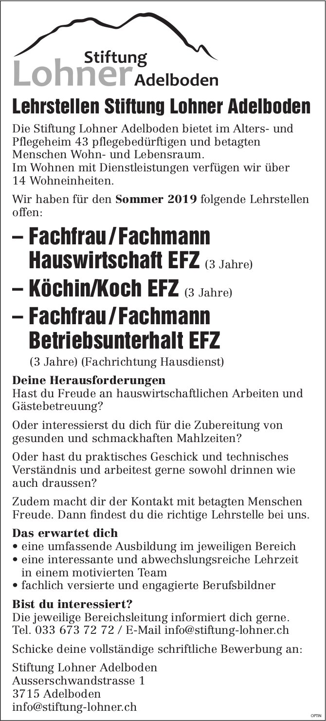 Lehrstellen Fachfrau/-mann Hauswirtschaft EFZ, Köchin/Koch EFZ, Fachfrau/-mann Betriebsunterhalt EFZ