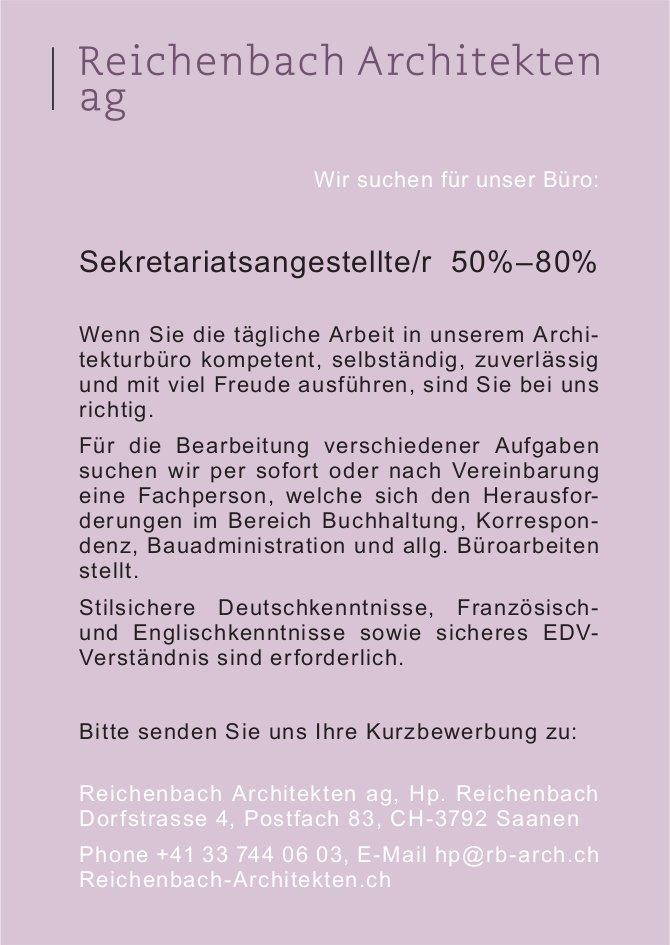 Sekretariatsangestellte/r 50%–80%, Reichenbach Architekten ag, Saanen, gesucht