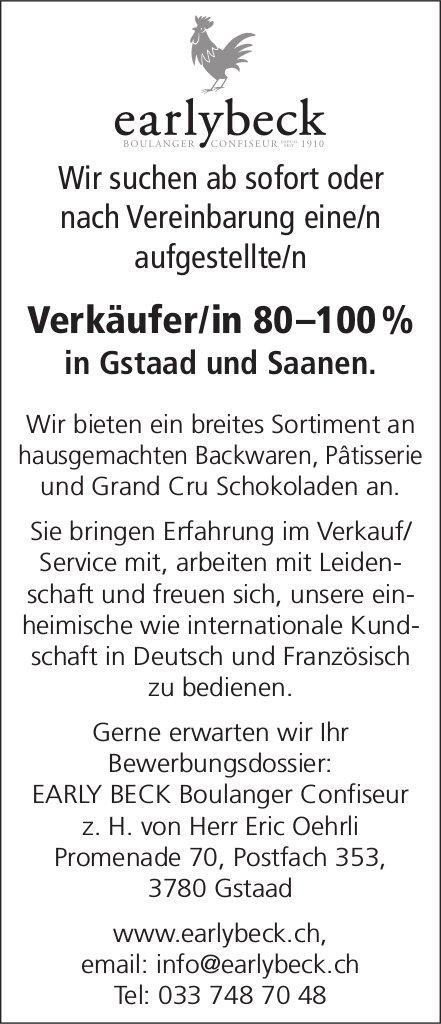 Verkäufer/in 80–100 %, EARLY BECK Boulanger Confiseur, Gstaad, gesucht