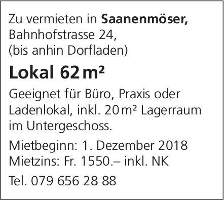 Lokal 62 m², Saanenmöser, zu vermieten
