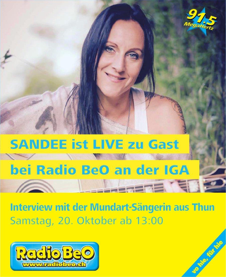 SANDEE ist LIVE zu Gast bei Radio BeO an der IGA, 20. Oktober