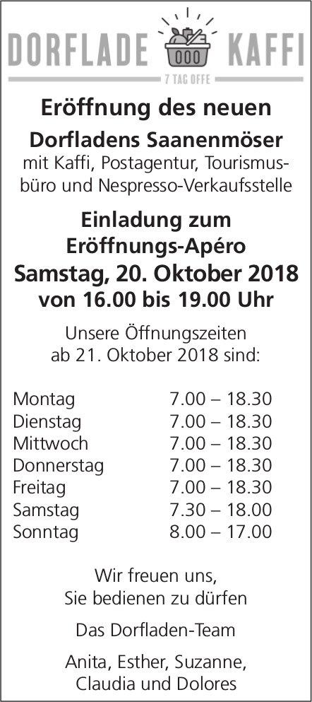 Eröffnungs-Apéro, 20. Oktober, Dorflade Kaffi