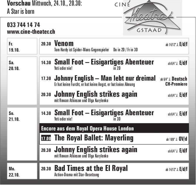 Ciné Théâtre Gstaad, 19. - 22. Oktober