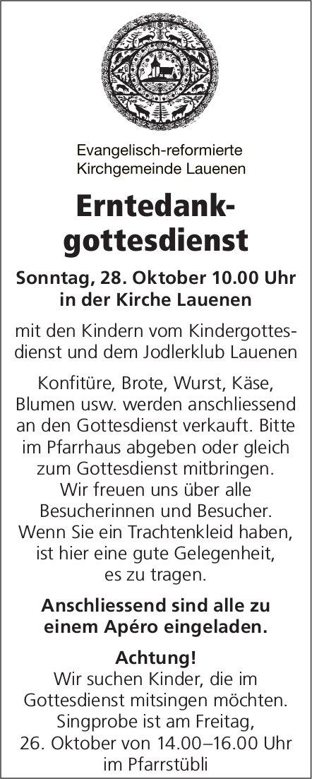 Erntedankgottesdienst, 28. Oktober, Kirche Lauenen