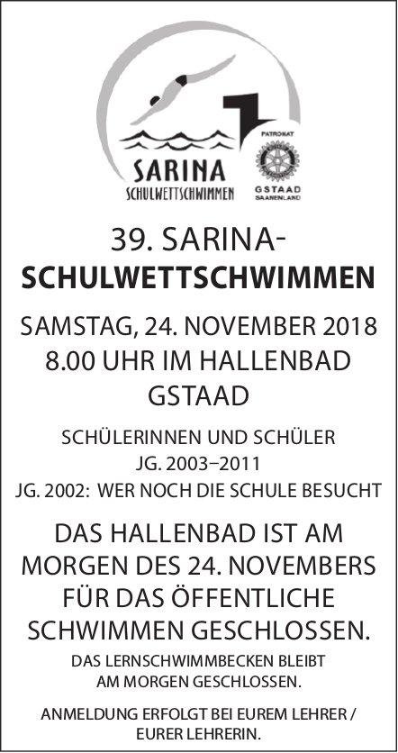 39. SARINA-SCHULWETTSCHWIMMEN, 24. NOVEMBER, HALLENBAD GSTAAD