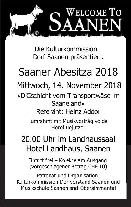 Saaner Abesitza 2018, 14. November, Hotel Landhaus, Saanen
