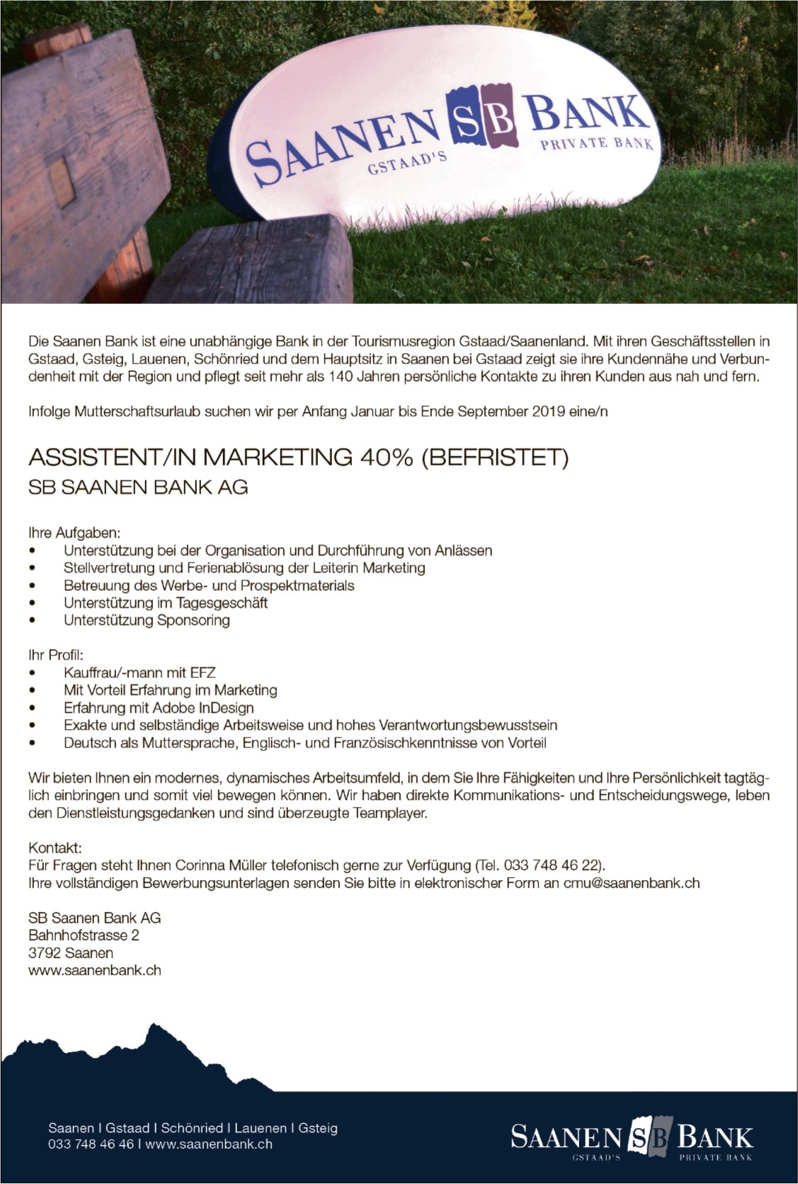 Assistent/in Marketing 40%, SB Saanen Bank AG
