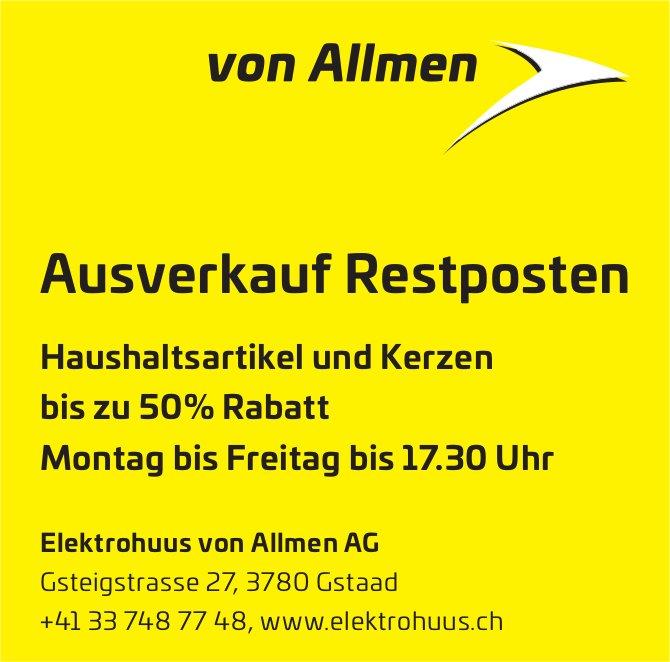Ausverkauf Restposten, Elektrohuus von Allmen AG
