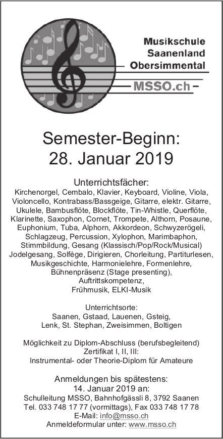 Semester-Beginn: 28. Jan., Musikschule Saanenland Obersimmental