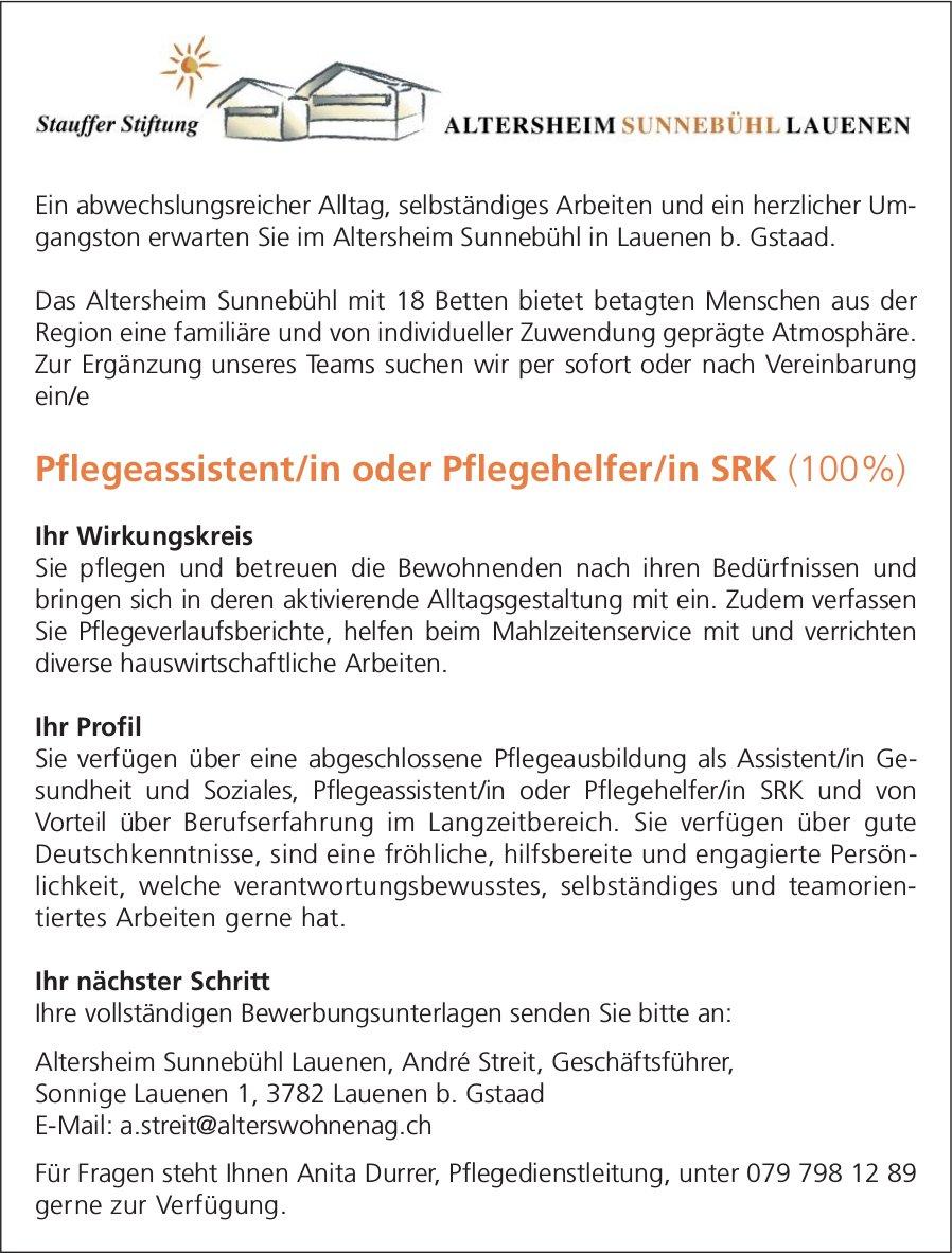 Pflegeassistent/in oder Pflegehelfer/in SRK (100%), Altersheim Sunnebühl Lauenen