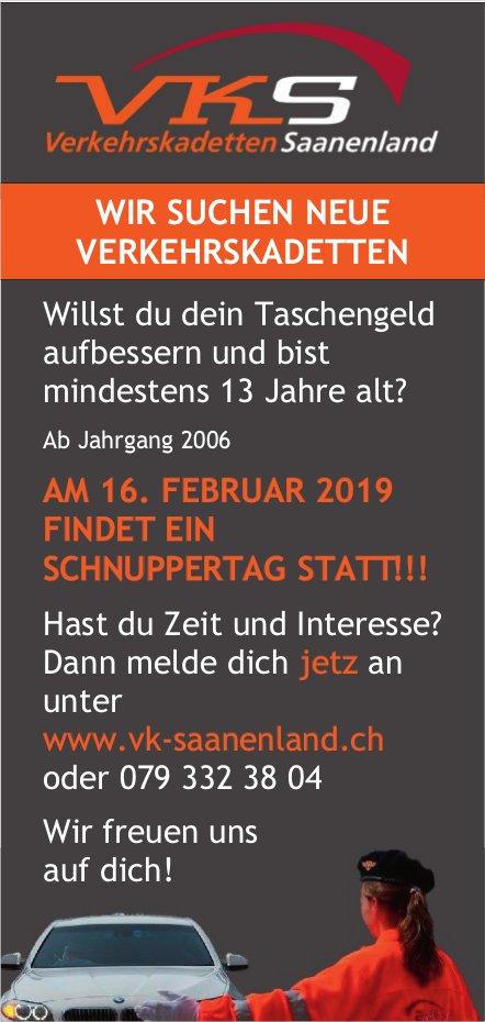 Neue Verkehrskadetten gesucht - Schnuppertag: 16. Feb., VK Saanenland