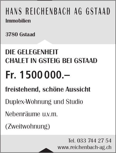 Duplex-Wohnung und Studio, Gsteig bei Gstaad, zu verkaufen