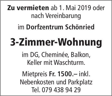 3-Zimmer-Wohnung, Schönried, zu vermieten