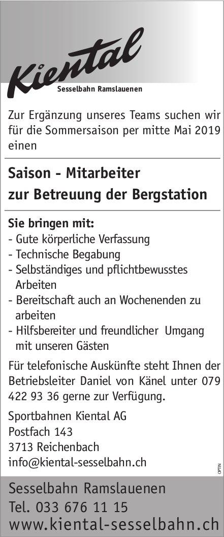 Saison - Mitarbeiter zur Betreuung der Bergstation, Sesselbahn Ramslauenen, gesucht