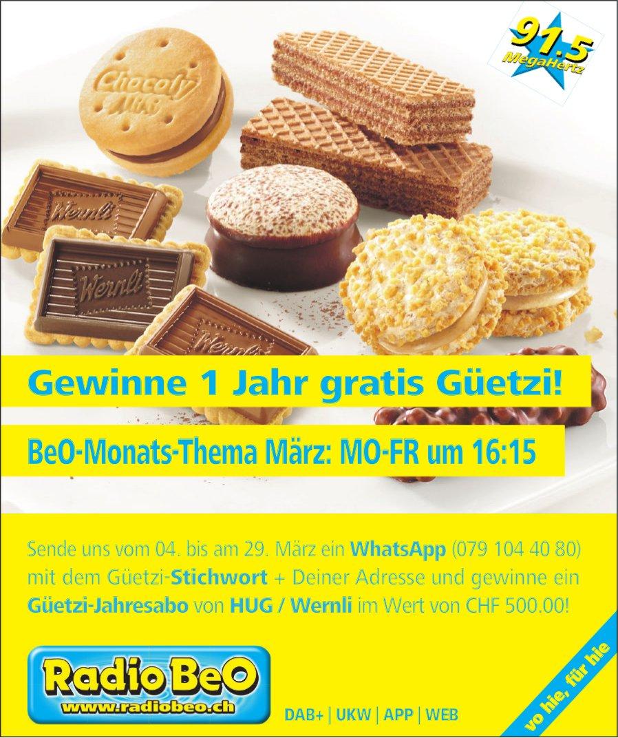 Radio BeO - Gewinne 1 Jahr gratis Güetzi!
