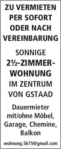 2.5-ZIMMER-WOHNUNG IM ZENTRUM VON GSTAAD, ZU VERMIETEN