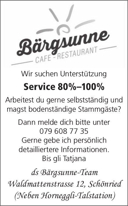 Service 80%–100%, Café-Restaurant Bärgsunne, Schönried, gesucht