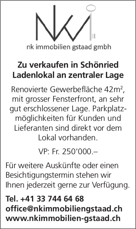 Ladenlokal an zentraler Lage, Schönried, zu verkaufen