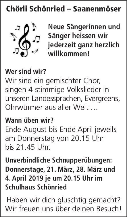Neue Sänger/innen heissen wir jederzeit ganz herzlich willkommen! - Chörli Schönried – Saanenmöser
