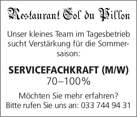 Servicefachkraft (m/w), 70-100%, Restaurant Col du Pillon